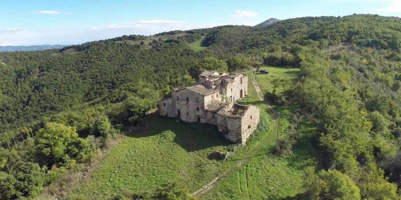 Ancient Hamlet with Curch - Aerial View